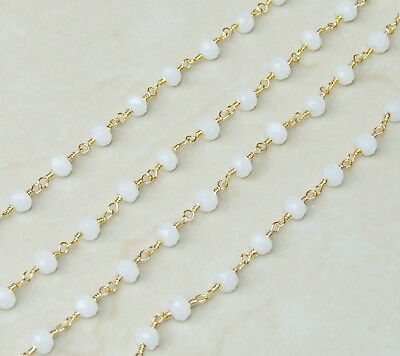 White Opalized Glass Faceted Rondelle Bead Rosary Chain - 5mm x 6mm