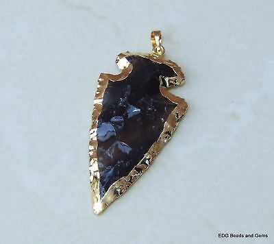 Dragon Glass Black Obsidian Arrowhead Pendant. Arrow Pendant -   - 45-50mm