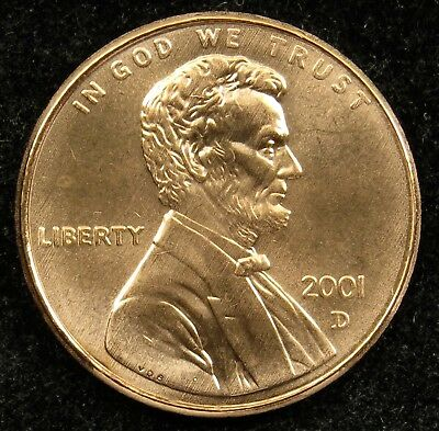 2001 D Uncirculated Lincoln Memorial Cent BU (C02)