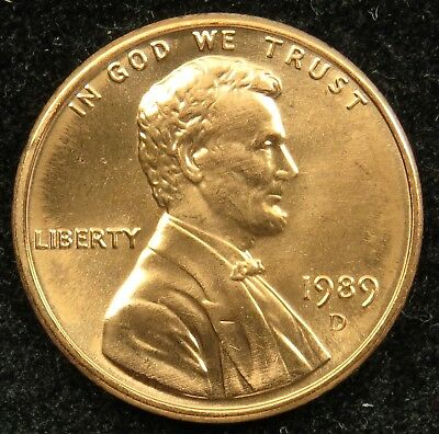 1989 D Uncirculated Lincoln Memorial Cent BU (C02)
