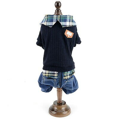Small Dog Sweater Plaid Shirt Collar Dog Student Outfits Pet Jumper with Pants