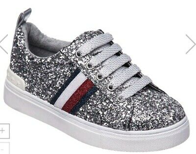 52f56c56a NEW Tommy Hilfiger Sneakers Chunky Silver Glitter Shoes Youth Big Girls  size 3