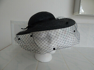 4f76e473ffb womens hat straw veil SONNI San francisco Black wide brim Dery Sun hat vtg