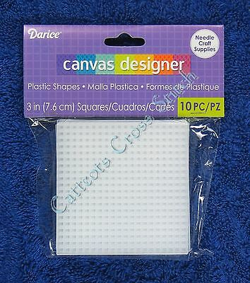 "Darice Plastic Canvas Square 3"" 10 per Packet Cross Stitch Needlepoint Shape"
