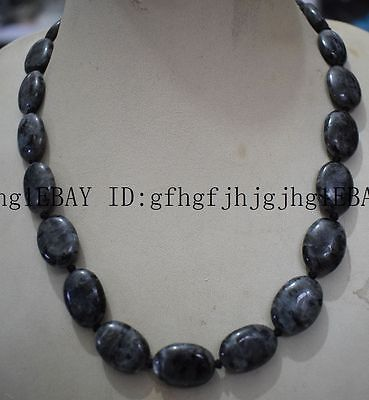 """New Natural 13x18mm India Black Gray Labradorite Gems oval necklace 18 """" AAA"""