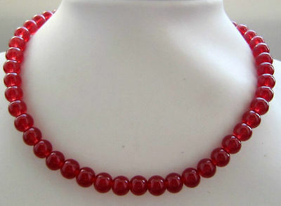 """10mm Natural Red jade Round Beads Necklace 18"""""""