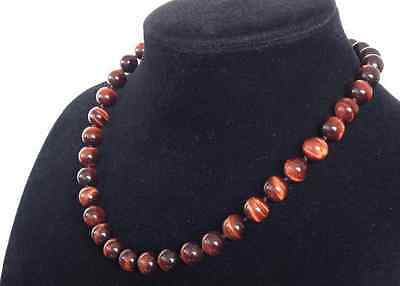 """Natural 8mm Red Tiger's Eye Round Beads Gemstone Necklace 18"""" AAA"""