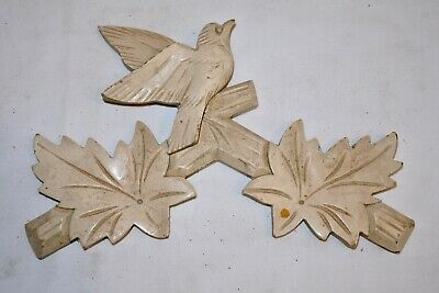 Vintage Wooden Leaves Birds Cuckoo Clock Parts Top Topper Trim 8 3/8""