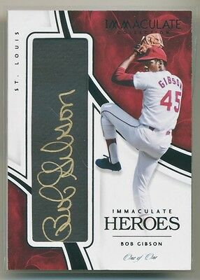BOB GIBSON 2016 Panini Immaculate Heroes AUTO TRUE 1/1 GOLD INK CARDINALS HOF