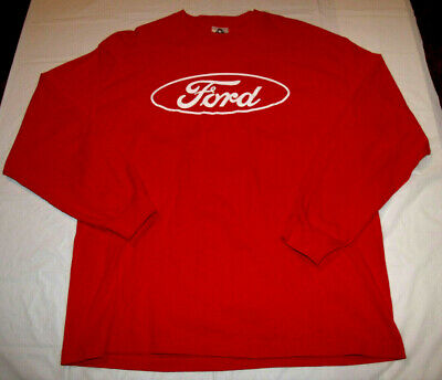Ford Motor Company Red Long Sleeve Shirt Men's Large AAA Brand 100% Cotton