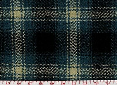 100% Wool Plaid Overstock Upholstery Fabric by Roth Fabric Graham CL Blue Black