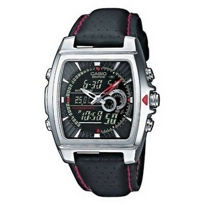 CASIO Edifice Square Black Dial Analog Digital Mens Watch Japan with Tracking