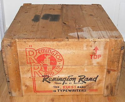 Old Remington Rand Typewriter Wood Wooden Shipping Crate Great Graphics LARGE
