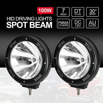 "Pair 7"" inch 100W HID Driving Lights XENON Spotlights Offroad 4x4 Work 12V Black"