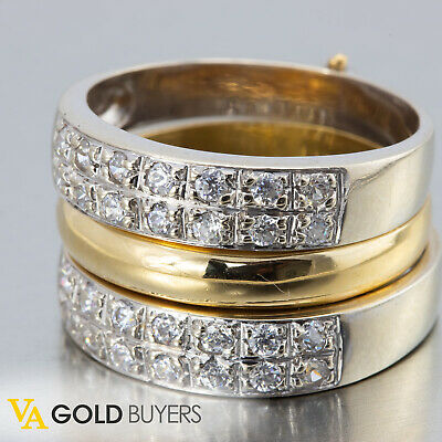 1940s Antique Art Deco 3 Ring 18k 2-Tone Diamond Band Ring Stack - Size 6.75