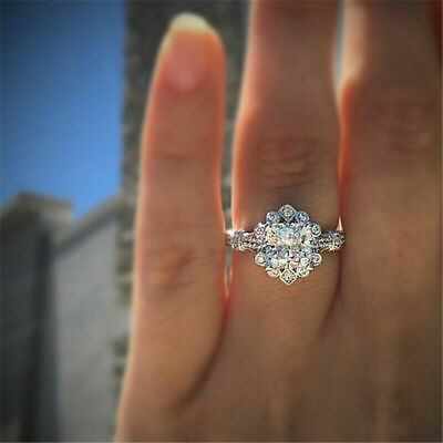 Princess Cut 1.2ct White Sapphire Engagement CZ 925 Plated Silver Wedding Ring