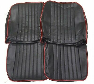 New Front Seat Covers Seat Upholstery for MGB 1973-1980 Black Vinyl W Red Trim