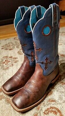 5aebe6be4b4 ARIAT RANCHERO BLUE & Brown Leather Cross Inlay Cowgirl Boots 10007679  Womens 9B