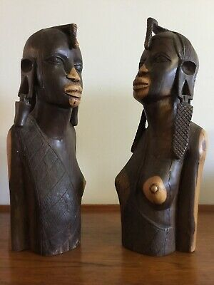Hand Carved LARGE AFRICAN MAASAI BUST STATUES Tribal Ethnic EBONY WOOD