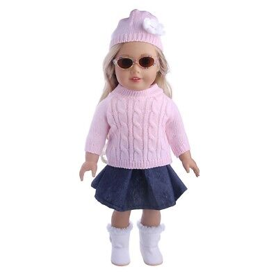 """3x 18"""" Girl Doll Clothes Accessory Suit Set Hat Sweater Skirt for 18inch Dolls❤❤"""