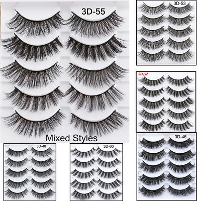 5Pairs 3D Faux Mink Hair False Eyelashes Extension Wispy Fluffy Think Lashes~