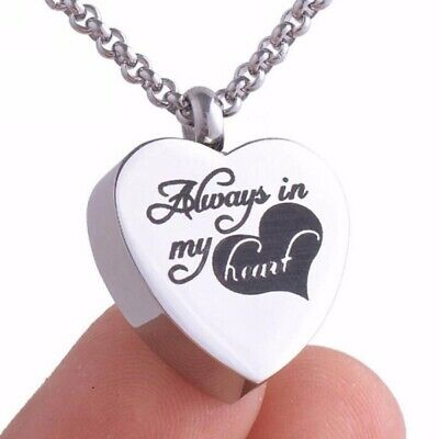 Always In My Heart Cremation Ash Jewelry Pendant Keepsake Memorial Urn Necklaces