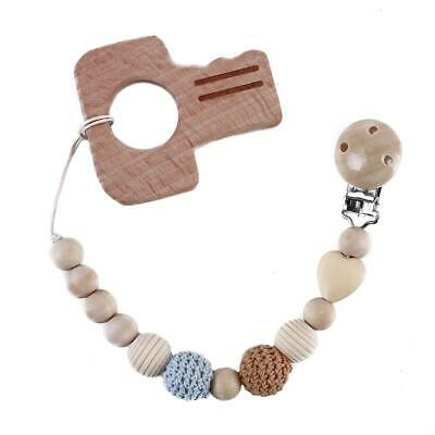 Wooden Bead Soother Chains Dummy Clip Holder Pacifier Clips Chewing Toys HD