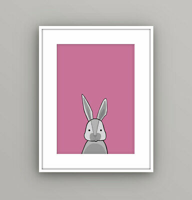 Kids Children's Bedroom Woodland Animal Rabbit Wall Art Picture Cartoon A4 Print
