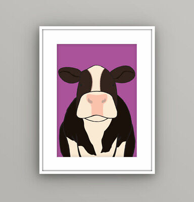 Kids Children's Bedroom Farm Animal Cow Wall Art Picture Cartoon A4 Print