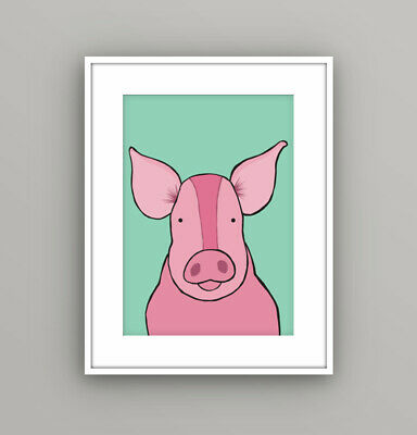 Kids Children's Bedroom Farm Animal Pig Wall Art Picture Cartoon A4 Print