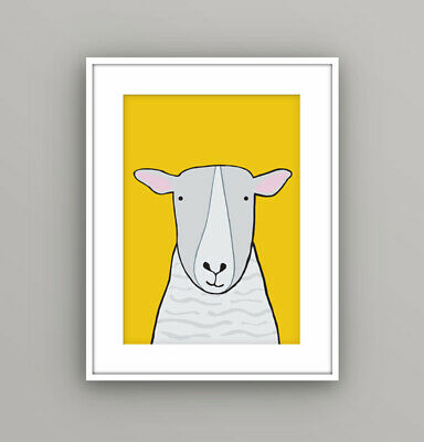 Kids Children's Bedroom Farm Animal Sheep Wall Art Picture Cartoon A4 Print