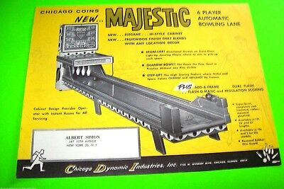 Chicago Coin 1964 MAJESTIC Original NOS Ball Bowling Alley Arcade Game Flyer