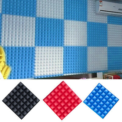 Home Soundproof Sound Stop Absorption Pyramid Studio Foam Sponge Board Tools UK