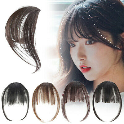 Remy Thin Air Fringe Bangs False Fake Hair Extension Clip on In Front Hairpieces