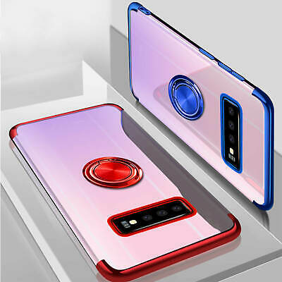 For Samsung Galaxy S10 S9 Note9 Plated Clear Magnetic Ring Kickstand Case Cover