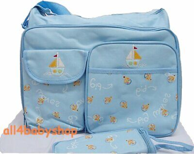 CLEARANCE 3PCs Canvas BLUE SAILBOAT Baby Nappy Diaper Changing Bags Bag NEW