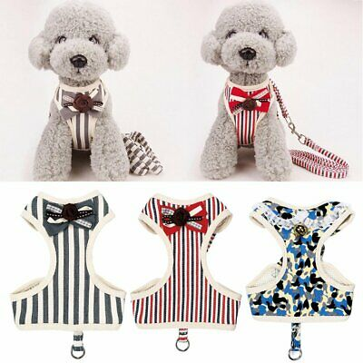 Adjustable Pet Dog Puppy Cat Lead Leash Soft Mesh Walking Harness Vest KU