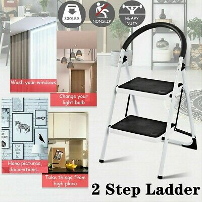 Fantastic 2 Step Ladder Folding Steel Step Stool Anti Slip Heavy Duty Pabps2019 Chair Design Images Pabps2019Com