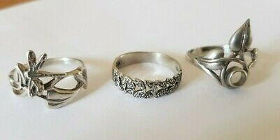 Three Vintage Art Deco/ style solid silver rings ,sizes M and N    EB236