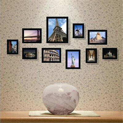 10Pcs Wall Mounted Family Picture Multi Photo Frame Set DIY Home Office Decor