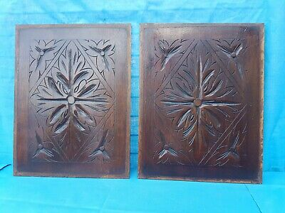 Antique French: Two Carved Oak Door Panel Richly Decorated  - 19th