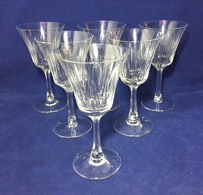 6 Vintage Villeroy & Boch Cut Crystal Glass Wine Drinking Glasses