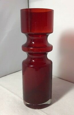 Vintage Alsterfors Red Glass Vase Per-Olof Ström S5000 60s Swedish Scandinavian