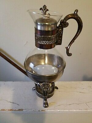 1930's? VINTAGE SILVER PLATED GLASS DECANTER WITH WARMING STAND. (CARAFE.)
