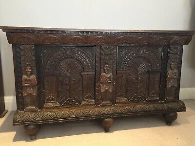 Antique dark oak Gothic Indian Asian Ornate heavily carved sideboard