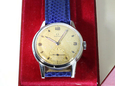 Vintage Omega Watch Calatrava in Stainless Steel, Genuine Patina, Mov 265, 1950
