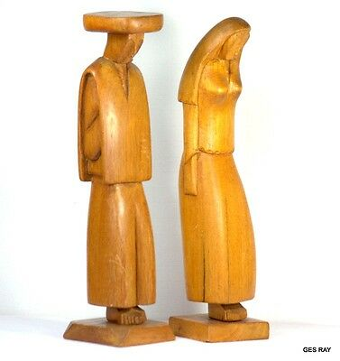 Mid Century Native Carved Wood Figurines Carving Tribal Native People Women Men