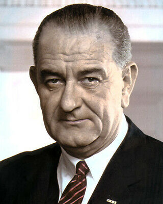 "LYNDON BAINES JOHNSON 36th PRESIDENT TEXAS BORN 8x10"" HAND COLOR TINTED PHOTO"