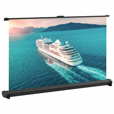 30 Inch 16:9 Mini Projector Projection Screen Cinema Theater Tabletop Pull Down