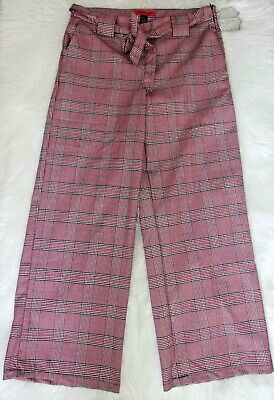 Women's Size 9 New With Tags HOT KISS Plaid Wide Leg Plaid Dress Pants Mid Rise